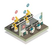 Smart Industry Manufacturing Isometric Composition. Smart industry intelligent manufacturing fully automated welding line with remote controlled robotic hand vector illustration