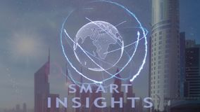 Smart insights text with 3d hologram of the planet Earth against the backdrop of the modern metropolis. Futuristic animation concept stock footage