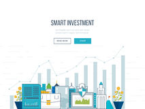 Smart investment, finance, market data analytics, strategic management, financial planning. Flat line design concept for smart investment, finance, banking Royalty Free Stock Photography