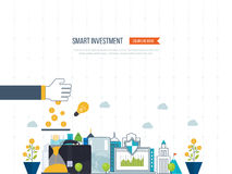 Smart investment, finance, market data analytics, strategic management, financial planning. Flat line design concept for real estate investment, finance Stock Image