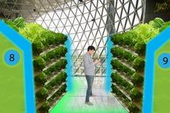 Smart jordbruk i futuristiska begrepp, smart bondebildskärm, K Royaltyfri Bild
