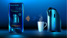 Smart kettle. iot. Smart kettle is on the table. Smartphone controls smart kettle over wifi internet. Control interface smart kettle over a wireless connection Stock Photos