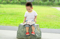 Smart kid enjoy reading book. Boy enjoys reading book outdoor Stock Photography