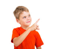 Smart kid pointing Royalty Free Stock Photos
