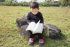 Smart kid reading a book in the park. Smart kid is sitting on the rock and reading a book in the park Stock Images