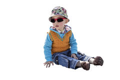 Smart kid with sunglasses white background Royalty Free Stock Image