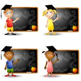 Smart Kids and Chalkboards Stock Photo