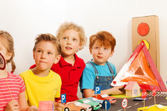 Smart kids at the road safety lesson Stock Photo