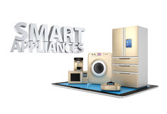 Smart kitchen appliances on tablet PC Royalty Free Stock Photo