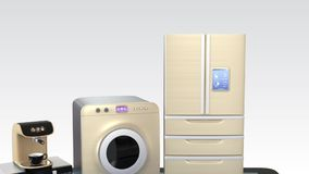 Smart kitchen appliances on a tablet PC stock video