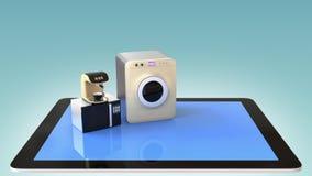 Smart kitchen appliances on a tablet PC royalty free illustration