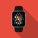 Smart klocka med symboler, begrepp Plan design vektor illustrationer