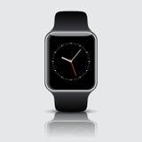 Smart klocka med symboler på vit bakgrund också vektor för coreldrawillustration Fotografering för Bildbyråer