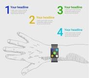 Smart klocka som är infographic i vektorstil Arkivbild