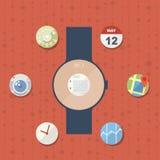 Smart klockabegrepp med symboler Arkivfoton
