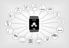 Smart klockaillustration i plan design med olika symboler på ljus - grå bakgrund Arkivbilder