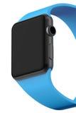 Smart klockasvartaluminium med blått spänner fast färg Arkivfoto
