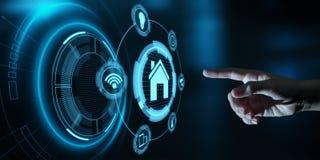 Smart kontrollsystem för hem- automation Begrepp för nätverk för innovationteknologiinternet arkivfoto