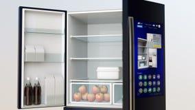 Smart kylskåp med pekskärmen royaltyfri illustrationer