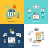 Smart lägenhet för husdesignbegrepp stock illustrationer