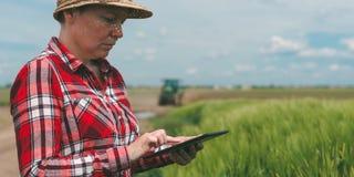 Smart lantbruk för ansvarig, genom att använda modern teknologi i agricultur arkivfoto