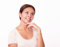 Smart latin female looking at people Royalty Free Stock Photography