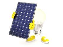 Smart LED mit Sonnenkollektor auf weißem Hintergrund Lizenzfreies Stockbild