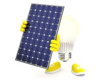 Smart LED with solar panel on white background vector illustration