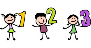 Smart little child holding 123's. Illustration of Smart little child holding 123's vector illustration