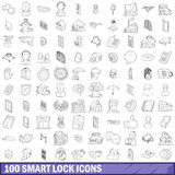 100 smart lock icons set, outline style Stock Images