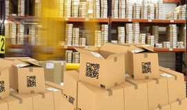 Smart logistic, Industry 4.0, Smart warehouse using QR Codes to manage packages and inventory. Supply chain stock images