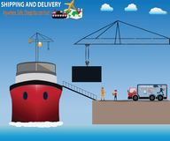 Smart Logistics concept,Truck carry product to a ship - vector Royalty Free Stock Photos