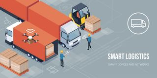 Smart logistics and product delivery. Workers loading products on the trucks and tracking delivery with a tablet: smart logistics and transportation concept vector illustration