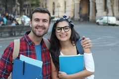 Smart looking couple of students.  stock photography