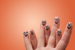 Smart looking fingers smiling royalty free stock photography