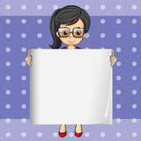 A smart-looking woman holding an empty signage Royalty Free Stock Photo