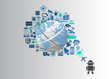 Smart machines and industrial internet of things (IOT) infographic Stock Images