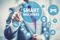 Smart machines and intelligent networks. Smart machines concept image of intelligent devices and network