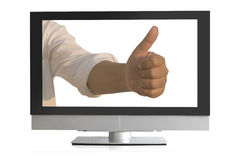Smart male manager showing thumbs up Royalty Free Stock Photo