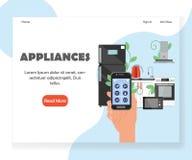 Smart mall för design för sida för landning för website för vektor för kökanordningar royaltyfri illustrationer