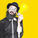 Smart Man With Big Creative Idea Yellow Copyspace Stock Photos