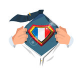 Smart man open shirt to show `France flag`. In hero style. France concept - vector illustration Royalty Free Stock Photo