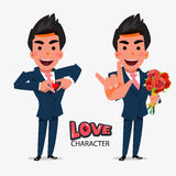 Smart man show love hand sign in separate action. character desi Royalty Free Stock Photo
