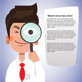 Smart man use magnifying glass to focus something. investigator concept -  illustration Royalty Free Stock Image
