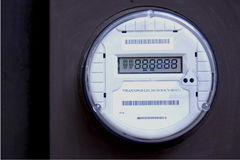 Smart Meter 2. A digital electric meter. Smart Meter. Showing all eights on the readout Royalty Free Stock Photos