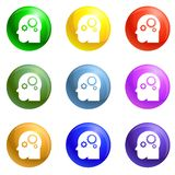 Smart mind gear icons set vector stock illustration