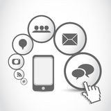 Smart mobil phone application cloud. Abstract background royalty free illustration