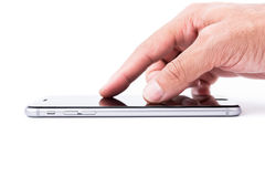 Smart mobile phone finger touch on touchscreen Royalty Free Stock Photo