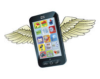 Smart mobile phone flying with wings Royalty Free Stock Photography