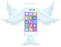 Smart mobile phone flying with wings Stock Photo